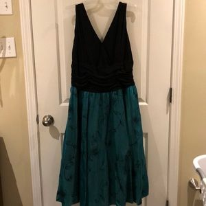 Black and teal cocktail dress